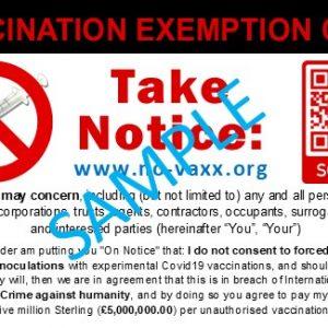 No Vaxx Card